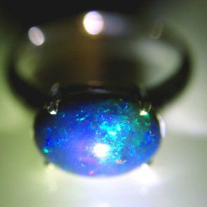 Blue Opal 2.90ct Platinum Solid Silver Ring